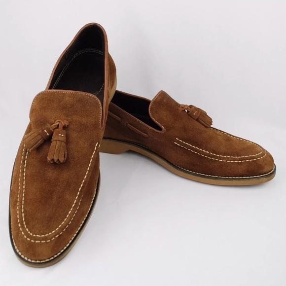 Donald J Pliner Suede Boat Shoes Tassel